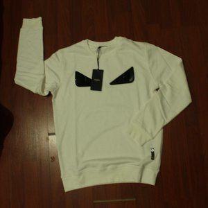 Fendi Sequin Black Eyes White Sweatshirt